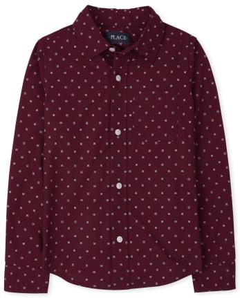 Boys Print Poplin Button Down Shirt