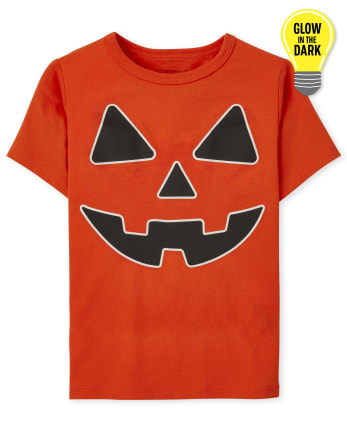 Baby and Toddler Boys Glow Pumpkin Face Graphic Tee