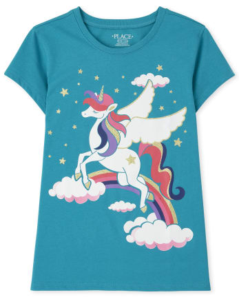 Girls Unicorn Clouds Graphic Tee