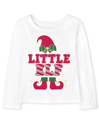 Baby and Toddler Girls Matching Family Little Elf Graphic Tee