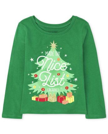 Baby and Toddler Girls Nice List Graphic Tee