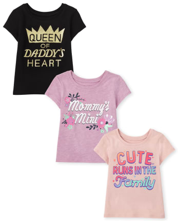 Toddler Girls Family Graphic Tee 3-Pack