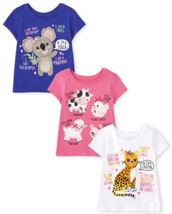 Toddler Girls Animal Graphic Tee 3-Pack