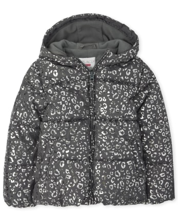 Girls Foil Leopard Puffer Jacket