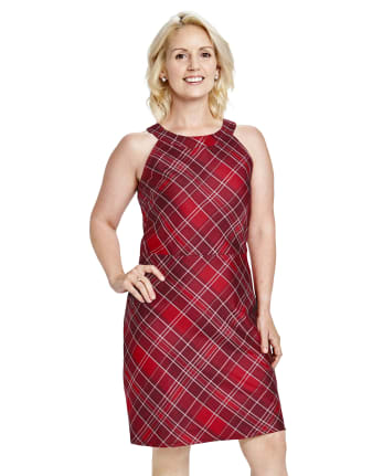Womens Mommy And Me Plaid High Neck Dress