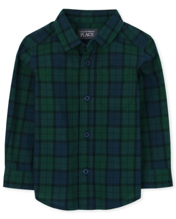 Baby And Toddler Boys Plaid Poplin Button Down Shirt