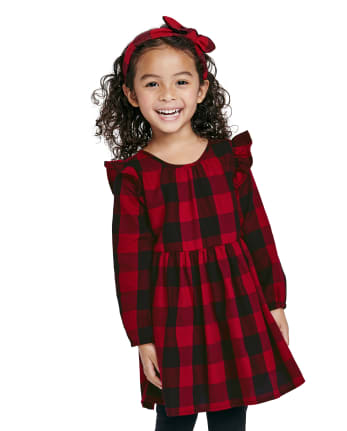 Tia's Pick - Toddler Girls Matching Family Buffalo Plaid Shirt Dress