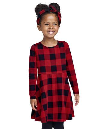 Baby And Toddler Girls Buffalo Plaid Skater Dress