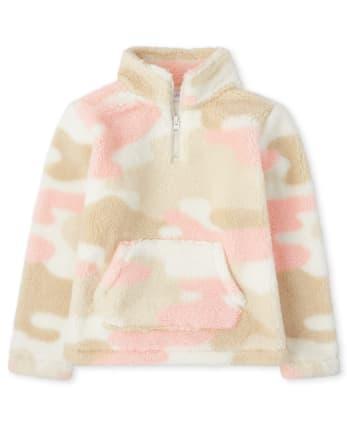 Girls Sherpa Half Zip Mock Neck Pullover