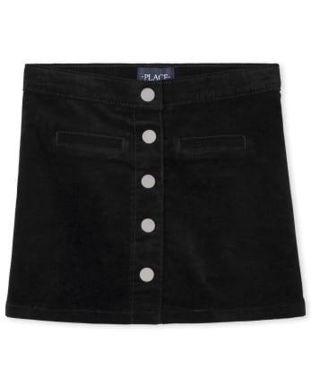 Girls Button Front Corduroy Skirt