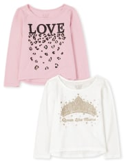 2-Pack Toddler Girls Glitter Top