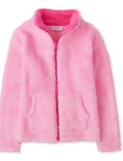 Deals on Girls Sherpa Zip Up Mock Neck Jacket