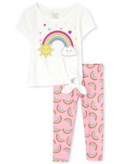 Toddler Girls Rainbow Tie Front 2-Piece Set Deals