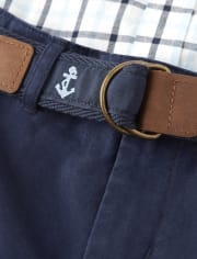 Boys Belted Chino Shorts - Spring Jubilee