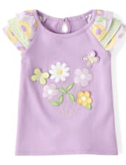 Girls Embroidered Ruffle Top - Pocketful Of Posies