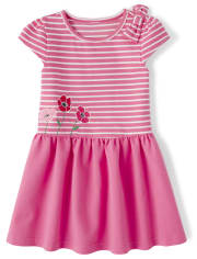 Girls Short Sleeve Poppy Embroidered Striped Ponte Knit Drop Waist Dress - Playful PoppiesCHILDRENS PLACE-27X27CHILDRENS PLACE-27X27