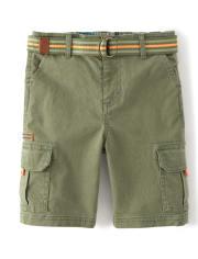 Boys Belted Cargo Shorts - Summer Safari