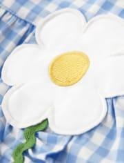 Girls Gingham Ruffle Dress - Sunny Daisies