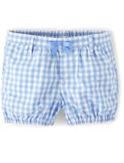 Girls Gingham Bubble Shorts - Sunny Daisies
