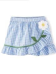 Girls Gingham Ruffle Skort - Sunny Daisies