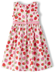 Girls Strawberry Ruffle Dress - Strawberry Patch
