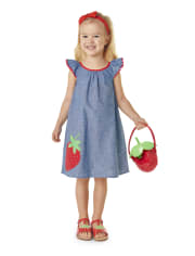 Girls Embroidered Chambray Shift Dress - Strawberry Patch