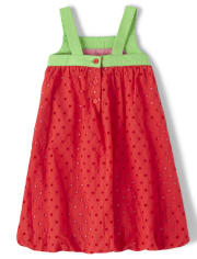 Girls Eyelet Bubble Hem Dress - Strawberry Patch