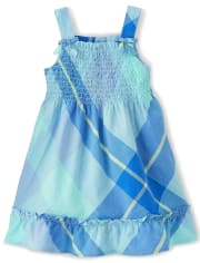 Girls Plaid Smocked Dress - Under The Sea