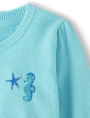 Girls Embroidered Seahorse Cardigan - Under The Sea