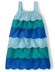 Girls Scalloped Tiered Dress - Under The Sea
