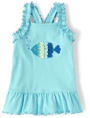 Girls Embroidered Fish Peplum Tank Top - Under The Sea