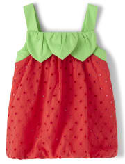 Girls Eyelet Bubble Hem Top - Strawberry Patch