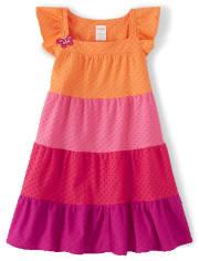 Girls Colorblock Jacquard Tiered Dress - Summer Safari