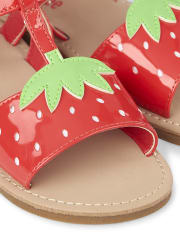Girls T-Strap Sandals - Strawberry Patch