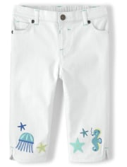 Girls Embroidered Jellyfish Cropped Jeans - Under The Sea