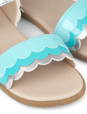 Girls Scalloped Metallic Sandals - Under The Sea