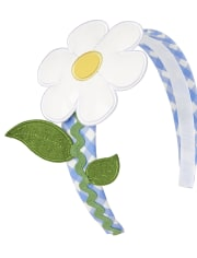 Girls Applique Gingham Headband - Sunny Daisies