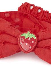 Girls Eyelet Headwrap - Strawberry Patch