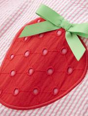 Girls Applique Seersucker Dress - Strawberry Patch