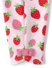 Girls Bow Capri Leggings - Strawberry Patch