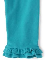 Girls Ruffle Capri Leggings - Under The Sea