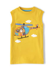Boys Applique Helicopter Tank Top - Travel Adventure