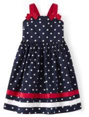 Girls Star Ribbon Dress - American Cutie