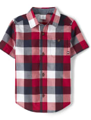 Boys Plaid Button Up Shirt - American Cutie