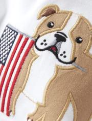 Boys Applique Bull Dog Top - American Cutie