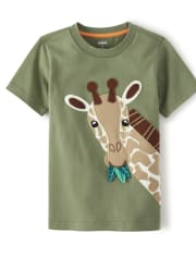Boys Applique Giraffe Top - Summer Safari