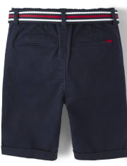 Boys Belted Chino Shorts - American Cutie