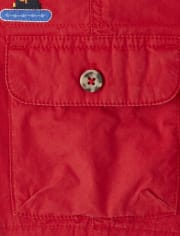 Boys Embroidered Construction Cargo Shorts - Travel Adventure