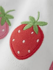 Girls Applique Bow Tank Top - Strawberry Patch