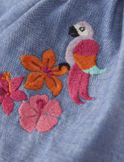 Girls Embroidered Chambray Smocked Dress - Summer Safari